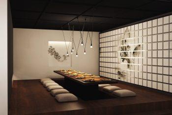 """Mẫu thiết kế nội thất nhà hàng đẹp theo phong cách """"thiền"""" Nhật Bản"""