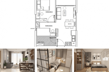 Mẫu thiết kế căn hộ 1 phòng ngủ +1 đẹp tiện nghi với 50m2