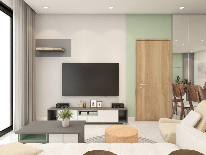 thiết kế thi công nội thất căn hộ 1 phòng ngủ