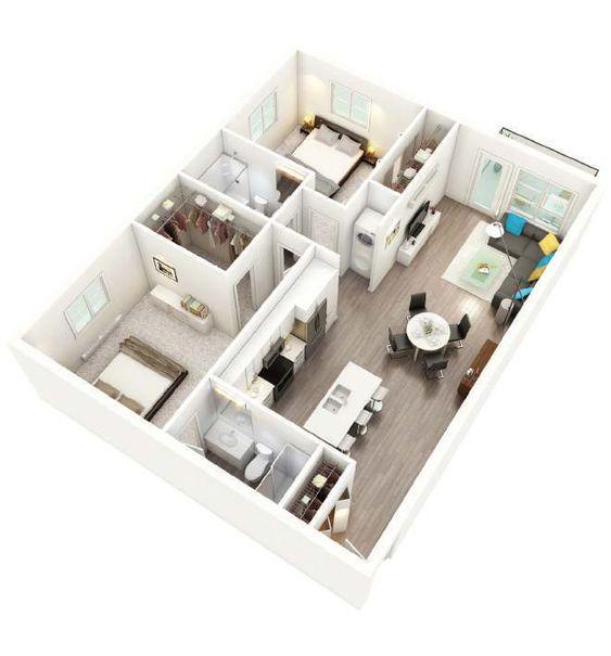 bản vẽ thiết kế nội thất chung cư 2 phòng ngủ