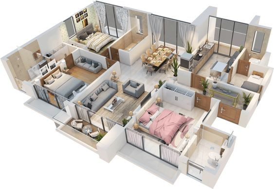 thiết kế nội thất căn hộ 3 phòng ngủ đẹp