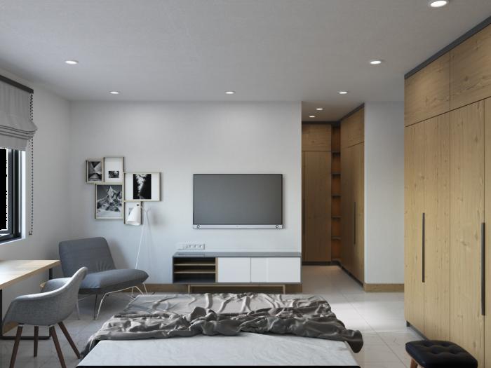 mẫu thiết kế nội thất nhà phố 60m2