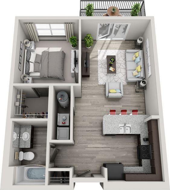 bản vẽ mặt bằng căn hộ 1 phòng ngủ
