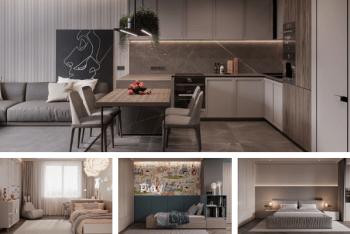 Mẫu thiết kế căn hộ 90m2 3 phòng ngủ đẹp với nội thất cao cấp