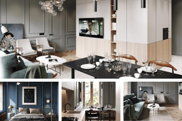thiết kế căn hộ luxury 75m2 2 phòng ngủ