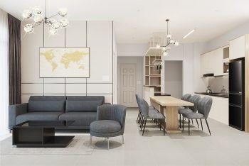 Dự án thiết kế thi công căn hộ 85m2 3 phòng ngủ Quận 2